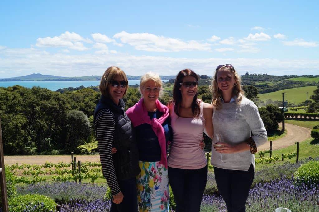 Girls at Mudbrick Vineyard in New Zealand